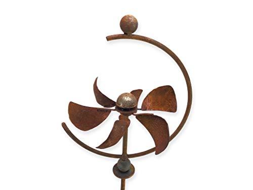 Crispe Metall Windrad 'Halbkreis' - massives Windspiel Windmühle für den Garten - wetterfest und standfest - mit bestem Kugellager - aus Vollmetall mit Edelrost-Patina – Höhe 140 cm