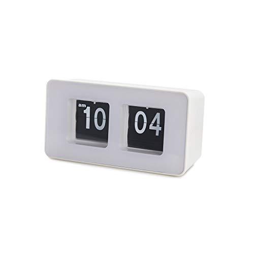Balvi Reloj sobremesa Flip Clock Color Blanco Posiblidad de Colgar en Pared Diseño Retro Plástico ABS