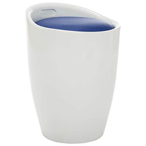 vidaXL Hocker mit Stauraum Sitzhocker Badhocker Arbeitshocker Polsterhocker Wäschekorb Wäschesammler Weiß Blau Kunstleder 36x36,5x50cm