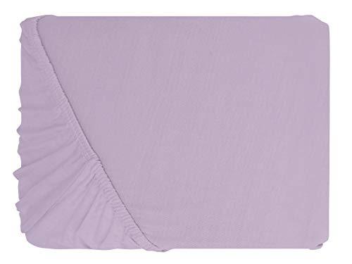 npluseins klassisches Jersey Spannbetttuch – erhältlich in 34 modernen Farben und 6 verschiedenen Größen – 100% Baumwolle, 70 x 140 cm, flieder - 2
