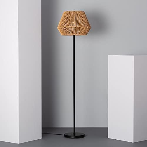 LEDKIA LIGHTING Lámpara de Pie Kirito 1530x400x400 mm Natural E27 Casquillo Gordo Papel Trenzado Decoración Salón, Habitación, Dormitorio