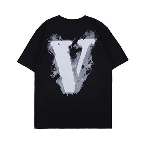 NAGRI Men's Vintage Graphic Big V Letter T Shirt Hip-Hop Smoke Angel Wings Print Short Sleeve Tee Black