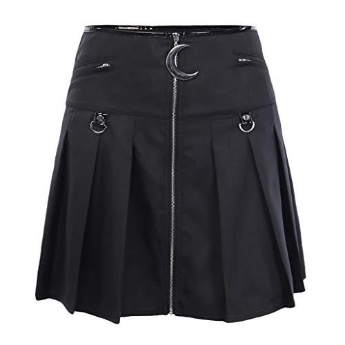 BRISEZZ Skirt- Punk casual A-lijn rok dames modieuze gothic Little zwart crescent opknoping vouwrok vintage midi swing rok van dun leer met ritssluiting voor party prestaties