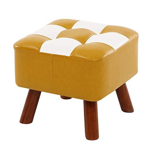 YUJIE massief houten voetenbank PU-lederen zitting | vierkant voetenbank kussen vervanging schoen bank trimmen stoel hout 4 poten