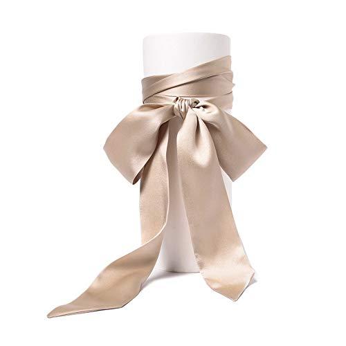 SWECOMZE Satin-Schärpe Gürtel Damen Hochzeit Bogen Band Schal Krawatte (Beige)
