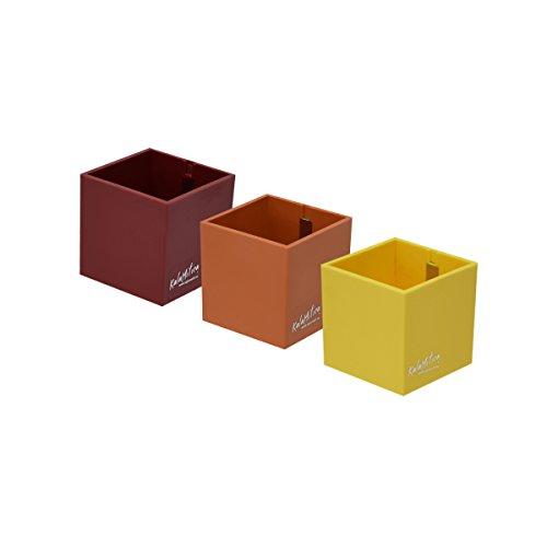KalaMitica Set 3 Würfel, Magnetische Blumentöpfe, Ø 6 cm, Rot Farbtone