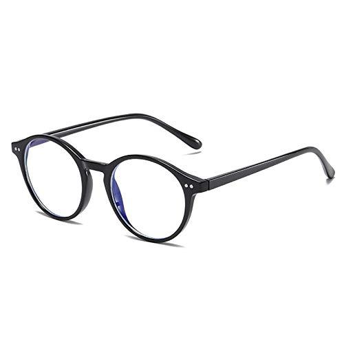 Gafas De Sol Gafas De Bloqueo De Luz Azul Redonda Vintage Retro para Hombres Y Mujeres Gafas Ópticas Marcos Computer Eyewear-C1_Black