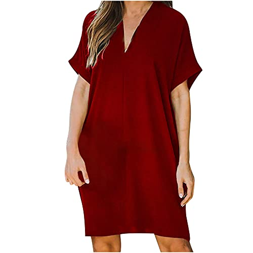 Midi Work Dresses Business Dress for Women Summer Solid Color Butterfly Cut Out Casual V-neck Loose Dress Tunic Tops Casual Long Shirt Dresses Ladies Smart Chic Evening Party Dresses Red