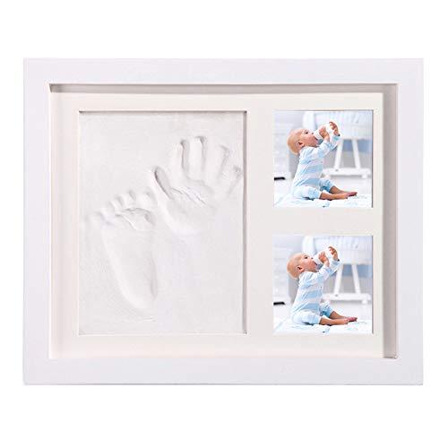 Set de Marco de Fotos y Huellas de Bebé, DIY Marco de Fotos de Madera Blanca, Regalo para Recién Nacido/Bebé-28 * 23cm