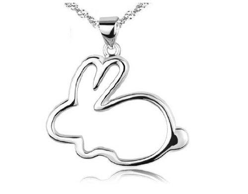 findout sterlina collana semplice piccolo ciondolo coniglietto coniglio bianco d'argento di moda (290)