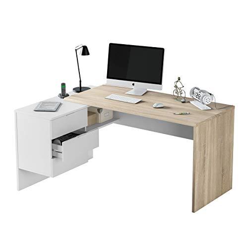 Scrivania pc ufficio reversibile angolare studio casa bianco OPACO + rovere computer gaming 145 X 108 X 73 cm - 0F4655A