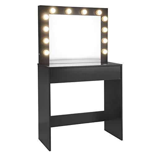 EUGAD 0020SZT Schminktisch mit LED Beleuchtung, Frisiertisch mit Schubladen Große Tischplatte 80x40cm, 12 LED-Lampen, Modern Kosmetiktisch für Schlafzimmer, Schwarz
