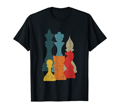 Retro Vintage Piezas De Ajedrez Maestro De Ajedrez Camiseta