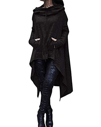 Xuan2Xuan3 Womens Kangaroo Pockets Loose Hoodies Sweatshirts Outerwear Coat Dress, Black, Medium