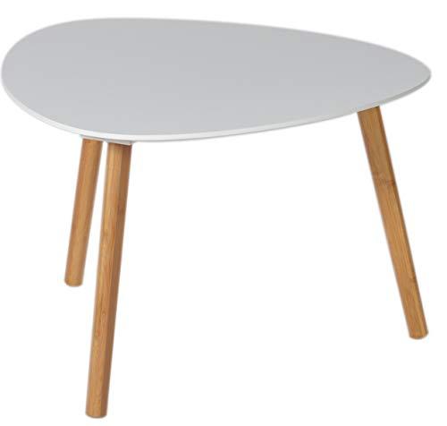 PEGANE Table Basse Zoe, Blanc et Bambou, L40 x H40 x P40.5 cm