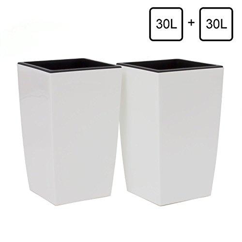 Set 2 Vasi Per Piante Coubi Quadro 30L Alto Con Inserto Largo 290 mm colore: Bianco