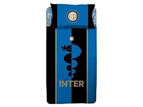PARURE Sacco Copripiumino Letto Singolo 1 Una Piazza Ufficiale Inter FC Nero Azzurro 100% Cotone Sacca + 1 Federa