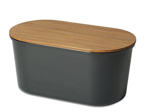 """Echtwerk Brotbox \""""Fresh\"""" Brotkasten, Akazienholz/Melamin, schwarz, 37 x 17 x 22 cm"""