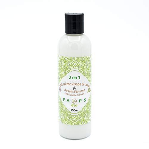 Lait-Crème Hydratant Visage-Corps 20% Lait d'Anesse Frais Bio Français.Produit 100% Naturel,Végétal.Formulé sans Sulfates,Silicones,Parabens, EDTA,Colorants,OGM,huiles minérales,huile de palme.250 ML