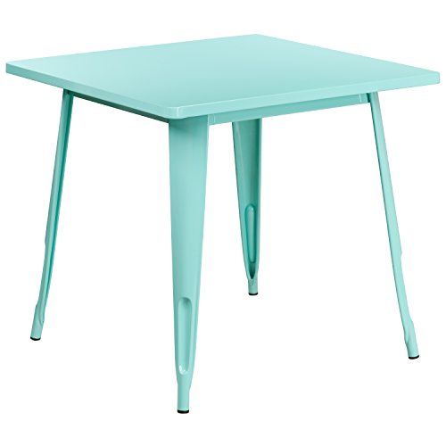 Flash Furniture 31.5'' Square Mint Green Metal Indoor-Outdoor Table