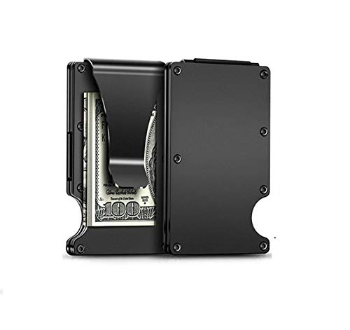 RFID Blocking Aluminum Slim Metal Front Pocket Minimalist Wallet Credit Card Case Holder Money ClipBlack