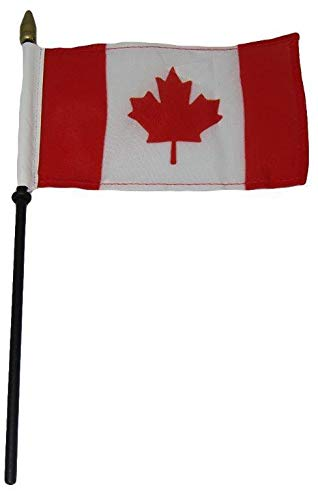 ALBATROS 12 Canada Country 4 inch x 6 inch Flag Desk Set Table Wooden Stick Staff for Home and Parades, Official Party, All Weather Indoors Outdoors