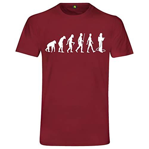 Evolution Feuerwehr T-Shirt   Firefighter   Feuerwehrmann   Brand   Wasser Bordeaux Rot XL