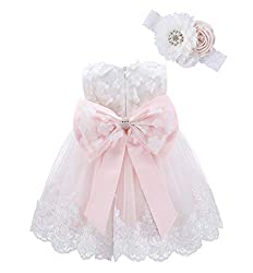 Blush Pink-flower Applique Dress with Headband With Rhinestones