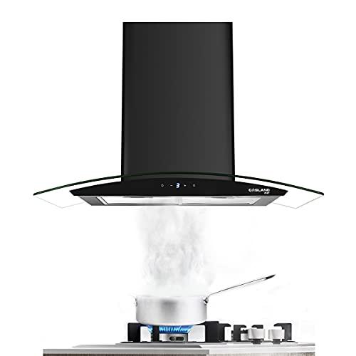 "30"" Range Hood, GASLAND Chef GR30BS Glass Wall Mount Range Hood Black, 3 Speed 350 CFM Ducted Kitchen Hood with LED Lights, Sensor Touch Control, Convertible Chimney, Aluminum Filter"