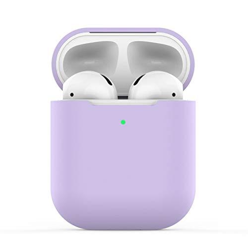 Amuse-MIUMIU Schutzhülle für Apple Airpods 2, Silikon Anti-verlorene Tasche [Unterstützt kabelloses Laden] [Stoßfeste Schutzhülle] [Perfekt Passt Hülle] für Apple Airpods 2 Lade Case (Lila)