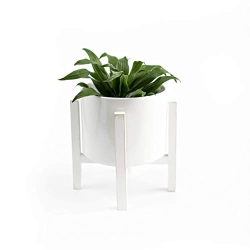 Modern Style White Ceramic Pots with Adjustable Wooden Stand - 7 and 8 3/4 Inch Planters for Indoor or Outdoor Plants, (Ceramic, 7')