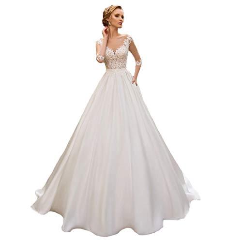 Brautkleid für Damen mit mittleren Ärmeln im Bohème-Stil und A-Linien-Rockkleid aus Spitzenstoff