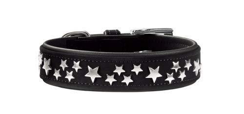 HUNTER SOFTIE STARS Hundehalsband, Kunstleder, mit Stern Applikationen, 55 (M-L), schwarz