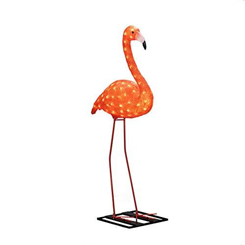 Konstsmide, 6273-803, LED Acryl Flamingo, groß, 96 bernsteinfarbene Dioden, 24V_Außentrafo, weißes Kabel