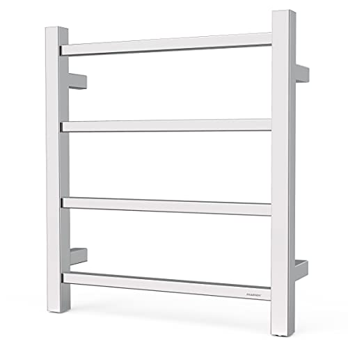 SHARNDY Electric Heated Towel Warmer Rack Polish Chrome for Bathroom Wall Mounted Square ETW13-2A Drying Rack UL Listed, 201 Stainless Steel, 4 Bars, 35W, 19.69 x 17.71 x 4.33 inches
