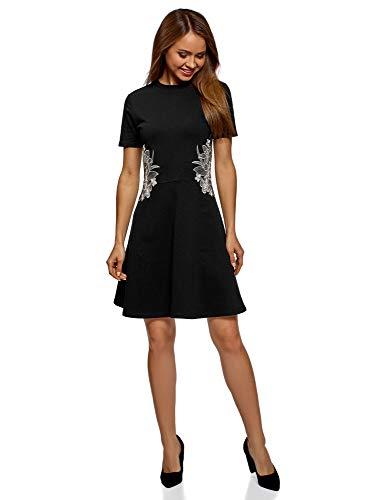 oodji Ultra Damen Tailliertes Kleid mit Reißverschluss und Stickerei, Schwarz, DE 36 / EU 38 / S
