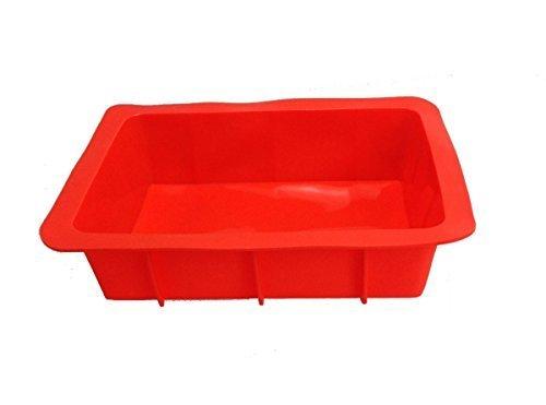GMMH Plat à gratin XXL Moule en Silicone Moule à gâteau Moule à Pain Plat à lasagnes en Forme de boîte Moule Moule à Cake (Rouge)