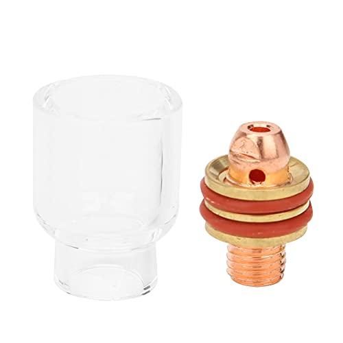 SALALIS Anillo de Silicona Blanca + Arandela de Goma + Copa de Vidrio Antorcha de Soldadura TIG Lente de Gas rechoncha Pinza de tungsteno + Varilla de conexión(2.4mm)
