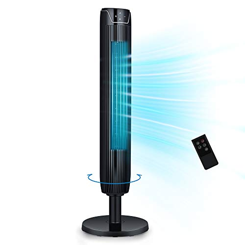 Tower Fan, 42 Inch Portable Oscillating Quiet Cooling Fan with Remote Controlled, 3 Modes and Speed Settings, Built-in Timer LED Display Stand Up...