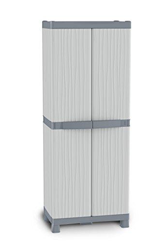 Terry, Base 2700 UW, Armario 2 Puertas, 4 Estantes Internos y 2 Cubetas, Gris, 70x43,8x181,8 cm