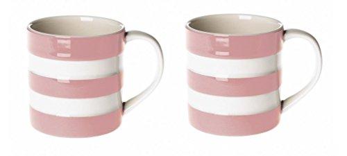 Cornishware Pink und Weiß gestreift Set 2Espressotassen Tassen, 170ml