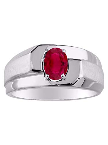 RYLOS Oval Silitaire Red Ruby Ring - July Birthstone