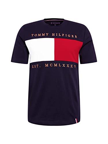 Tommy Hilfiger de los Hombres Camiseta Relax con Bordado en el Pecho de la Bandera, Azul
