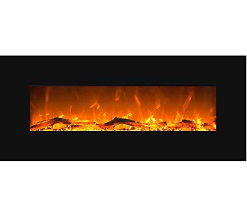 GLOW FIRE Mars Elektrokamin mit Heizung, Wandkamin mit LED | Künstliches Feuer mit zuschaltbarem Heizlüfter: 750/1500 W | Fernbedienung, 126 cm, Schwarz, Holzdekoration