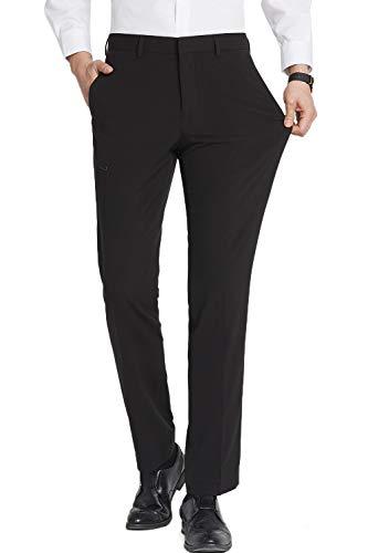 FLY HAWK Men Dress Pants, Business Casual Elastic Straight Leg Suit Trousers for Men, Black Dress Pants 42Wx32L