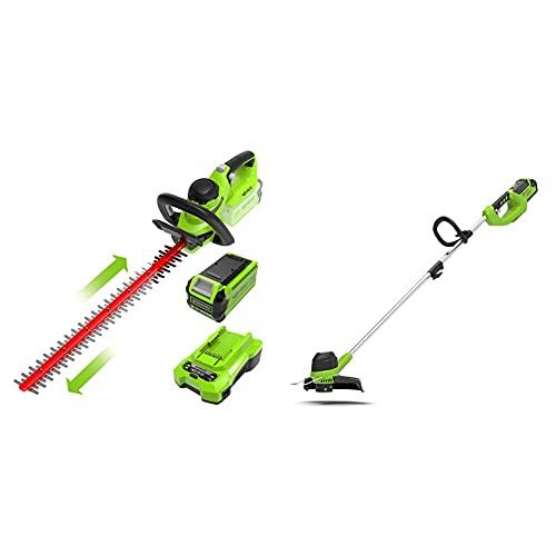 Greenworks herramientas inalámbricas de jardín cortadora césped G40LT y recortador setos G40HT61(Li-Ion 40V/ Corte: 30cm ancho 7000rpm 61cm longitud 27mm espesor 3000 CPM batería 2Ah y cargador)