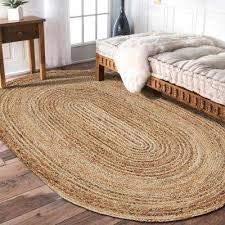 InicioDecorBoutique Indischer handgefertigter geflochtener handgewebter Jute-Teppich (1,2 x 1,8 m, oval, natürlich)