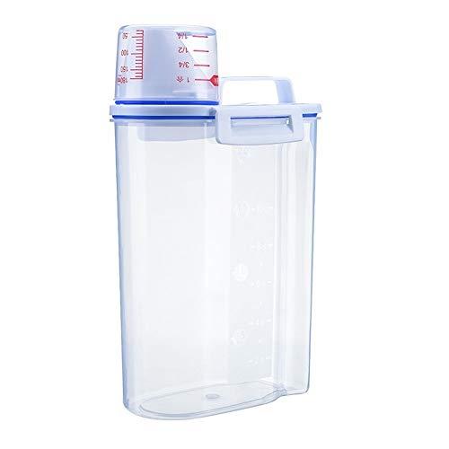 Huishoudelijke waspoeder Storage Box Barrel Grote plastic Special Box Met Het Meten Cup Deksel Container opslag Fles Jar 29 * 17 * 9cm (Color : Transparent, Size : 29 * 17 * 9cm)