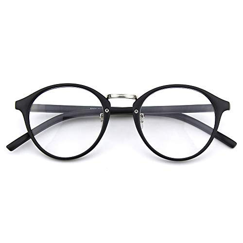 Happy Store CN65 Vintage Inspired Metal Bridge Round UV400 Clear Lens Glasses for Men and Women,Matte Black
