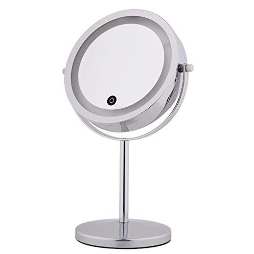 Miroirs de table 10x Miroir De Maquillage Lumineux Grossi Éclairé Double Face Miroir Grossissant Rond Avec Miroir Sur Le Bouton Marche/Arrêt (Color : Silver, Size : 17 * 6 * 33 cm)
